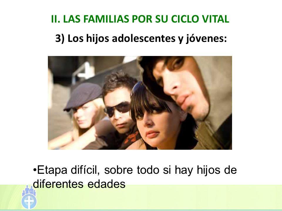 II. LAS FAMILIAS POR SU CICLO VITAL 3) Los hijos adolescentes y jóvenes: Etapa difícil, sobre todo si hay hijos de diferentes edades