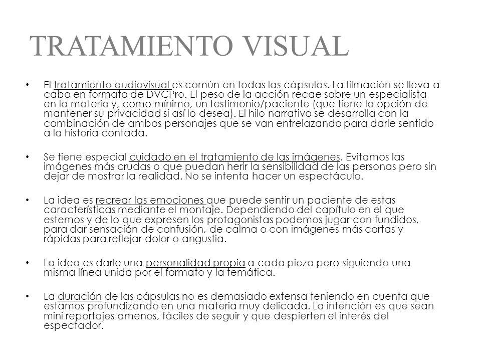 TRATAMIENTO VISUAL El tratamiento audiovisual es común en todas las cápsulas.