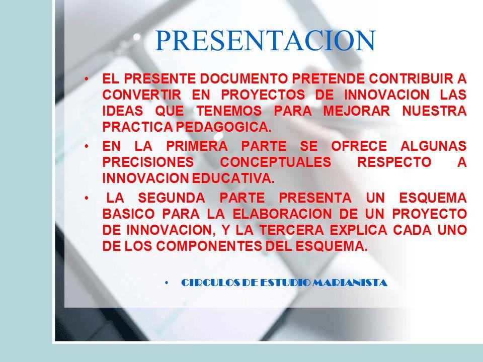 PRESENTACION EL PRESENTE DOCUMENTO PRETENDE CONTRIBUIR A CONVERTIR EN PROYECTOS DE INNOVACION LAS IDEAS QUE TENEMOS PARA MEJORAR NUESTRA PRACTICA PEDAGOGICA.