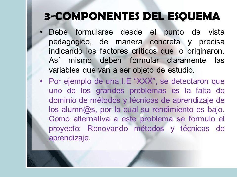 3-COMPONENTES DEL ESQUEMA Debe formularse desde el punto de vista pedagógico, de manera concreta y precisa indicando los factores críticos que lo originaron.