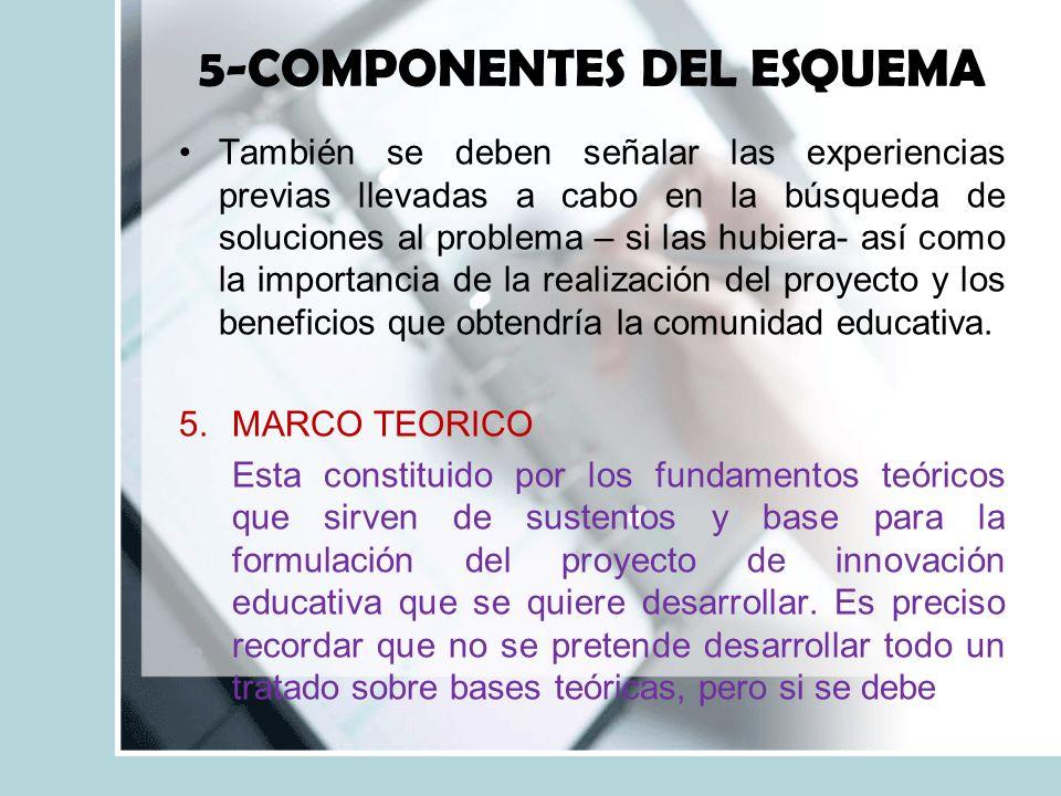 5-COMPONENTES DEL ESQUEMA También se deben señalar las experiencias previas llevadas a cabo en la búsqueda de soluciones al problema – si las hubiera- así como la importancia de la realización del proyecto y los beneficios que obtendría la comunidad educativa.