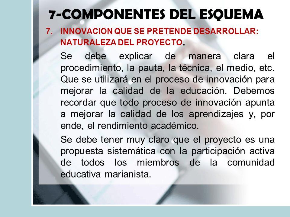 7-COMPONENTES DEL ESQUEMA 7.INNOVACION QUE SE PRETENDE DESARROLLAR: NATURALEZA DEL PROYECTO.