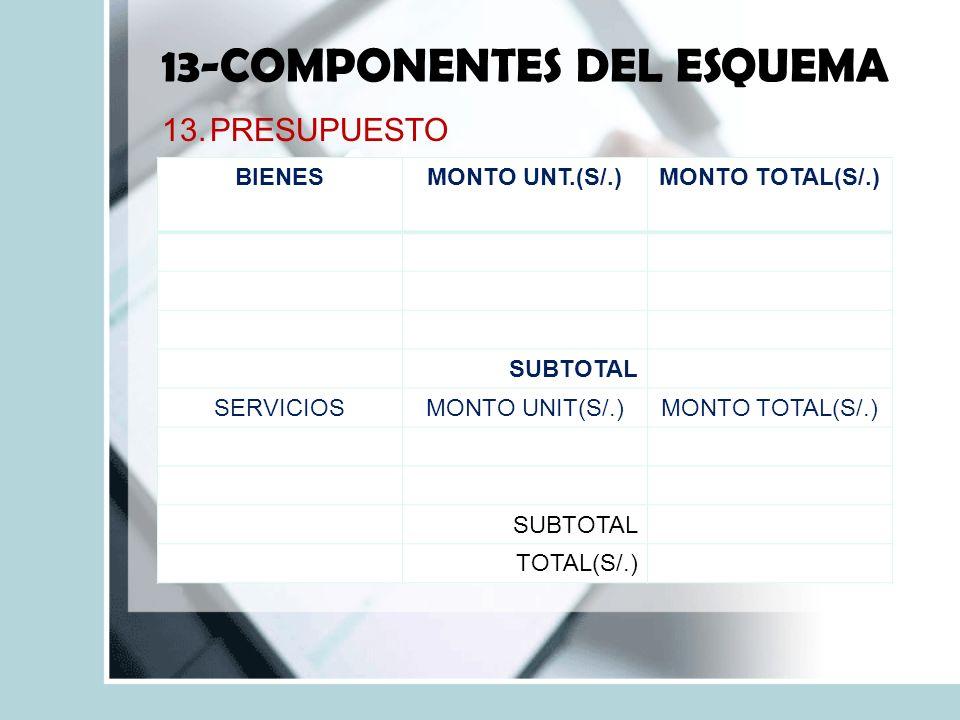13-COMPONENTES DEL ESQUEMA 13.PRESUPUESTO BIENESMONTO UNT.(S/.)MONTO TOTAL(S/.) SUBTOTAL SERVICIOSMONTO UNIT(S/.)MONTO TOTAL(S/.) SUBTOTAL TOTAL(S/.)