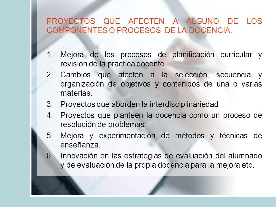 PROYECTOS QUE AFECTEN EXPLÍCITAMENTE AL ALUMNADO 1.Proyectos centrados en la mejora de estrategias de aprendizaje y de sus habilidades para la investigación.