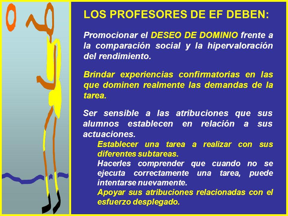 LOS PROFESORES DE EF DEBEN: Promocionar el DESEO DE DOMINIO frente a la comparación social y la hipervaloración del rendimiento. Brindar experiencias