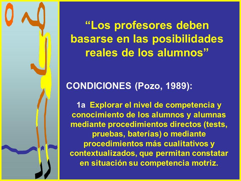 Los profesores deben basarse en las posibilidades reales de los alumnos CONDICIONES (Pozo, 1989): 1a Explorar el nivel de competencia y conocimiento d