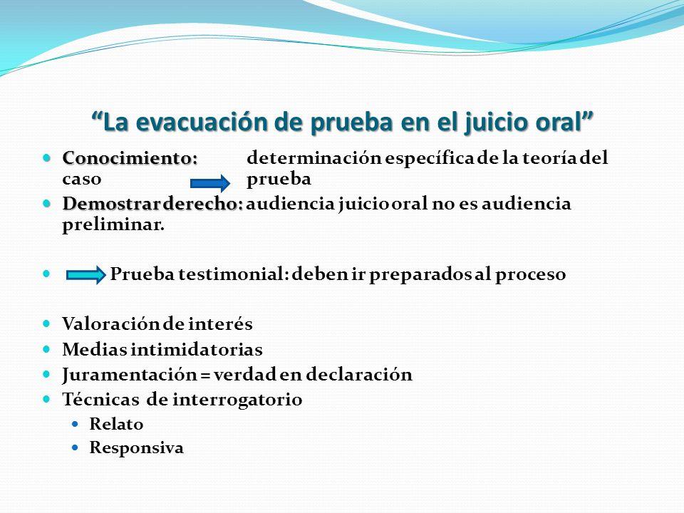 La evacuación de prueba en el juicio oral Conocimiento: Conocimiento: determinación específica de la teoría del caso prueba Demostrar derecho: Demostr