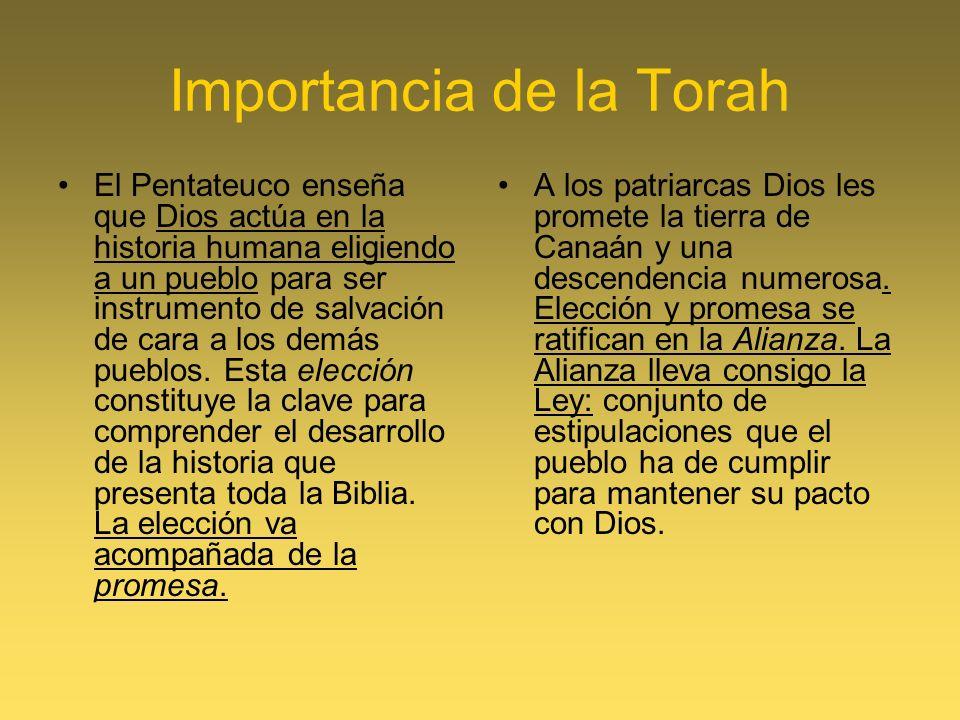 Importancia de la Torah El Pentateuco enseña que Dios actúa en la historia humana eligiendo a un pueblo para ser instrumento de salvación de cara a lo