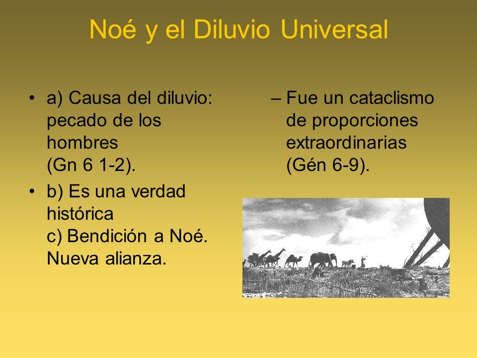 Noé y el Diluvio Universal a) Causa del diluvio: pecado de los hombres (Gn 6 1-2). b) Es una verdad histórica c) Bendición a Noé. Nueva alianza. –Fue
