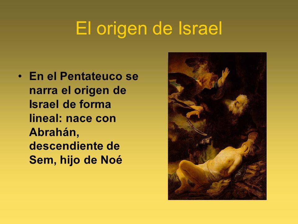 El origen de Israel En el Pentateuco se narra el origen de Israel de forma lineal: nace con Abrahán, descendiente de Sem, hijo de Noé