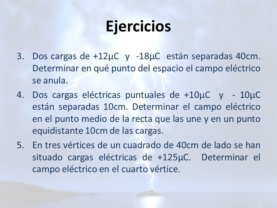 Ejercicios 3.Dos cargas de +12μC y -18μC están separadas 40cm. Determinar en qué punto del espacio el campo eléctrico se anula. 4.Dos cargas eléctrica
