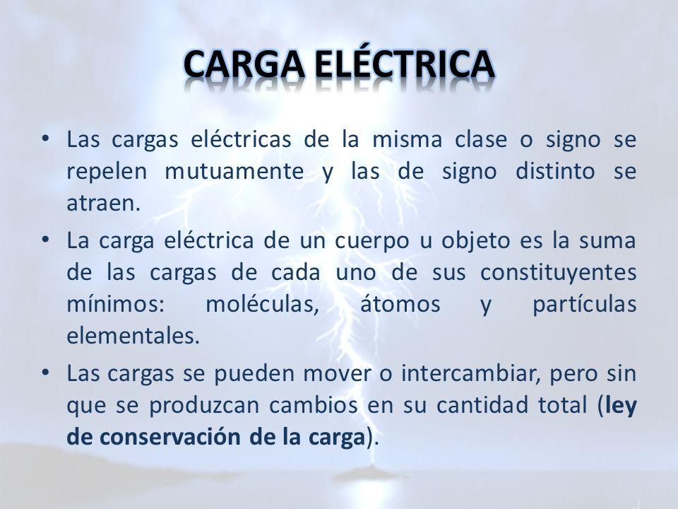 Las cargas eléctricas de la misma clase o signo se repelen mutuamente y las de signo distinto se atraen. La carga eléctrica de un cuerpo u objeto es l