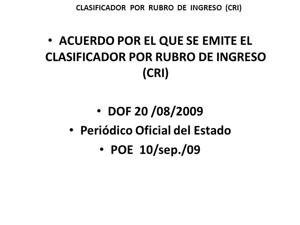 ACUERDO POR EL QUE SE EMITE EL CLASIFICADOR POR RUBRO DE INGRESO (CRI) DOF 20 /08/2009 Periódico Oficial del Estado POE 10/sep./09 CLASIFICADOR POR RUBRO DE INGRESO (CRI)