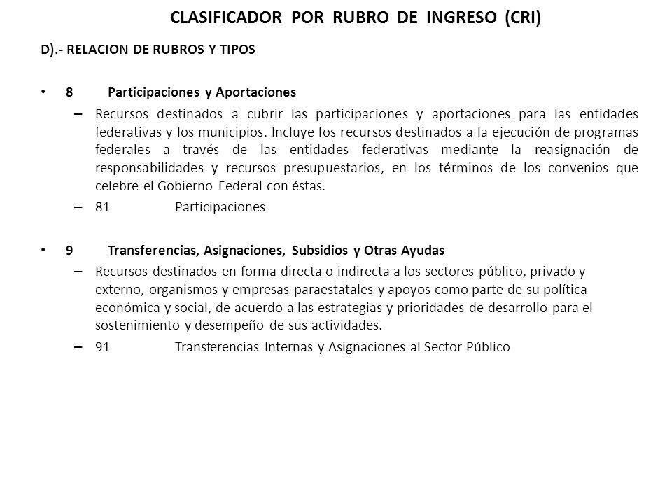 D).- RELACION DE RUBROS Y TIPOS 8 Participaciones y Aportaciones – Recursos destinados a cubrir las participaciones y aportaciones para las entidades federativas y los municipios.