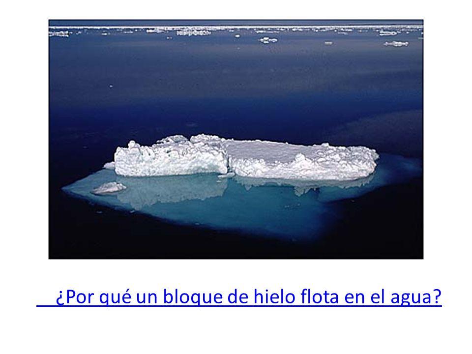 ¿Por qué un bloque de hielo flota en el agua?
