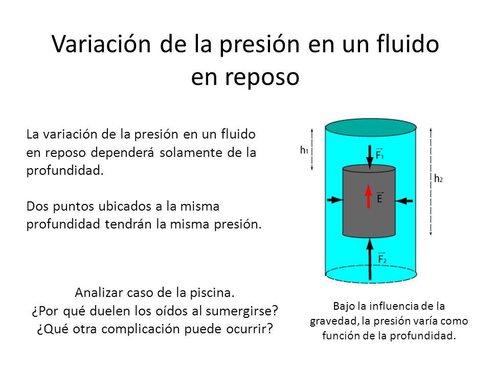 Variación de la presión en un fluido en reposo La variación de la presión en un fluido en reposo dependerá solamente de la profundidad. Dos puntos ubi
