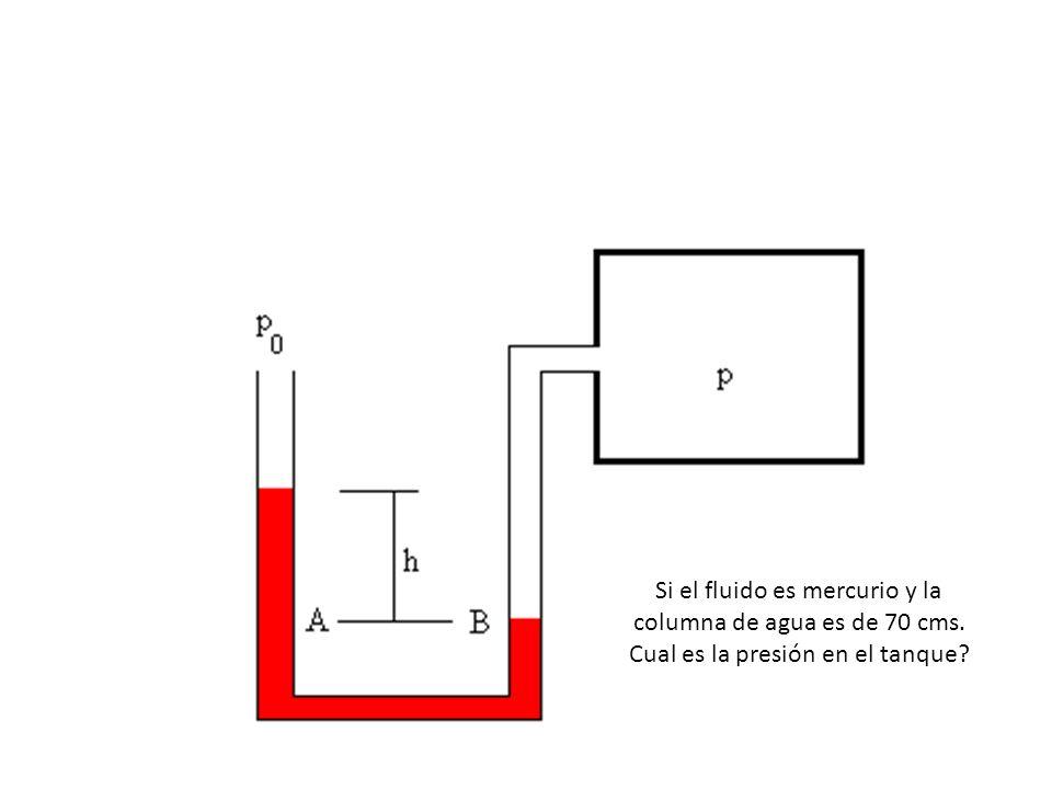 Si el fluido es mercurio y la columna de agua es de 70 cms. Cual es la presión en el tanque?