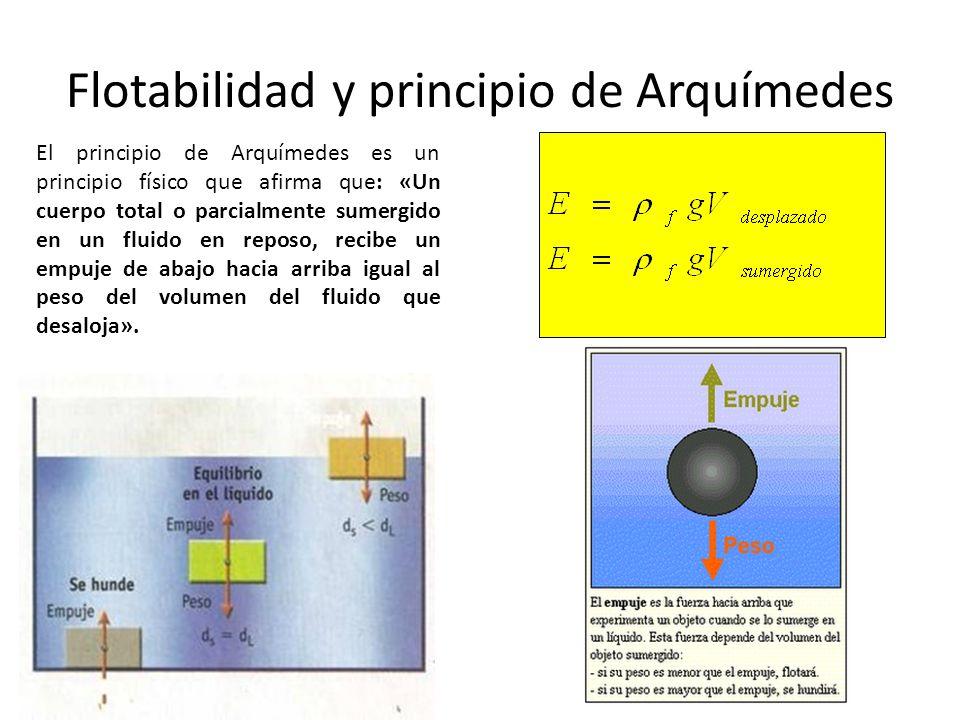 Flotabilidad y principio de Arquímedes El principio de Arquímedes es un principio físico que afirma que: «Un cuerpo total o parcialmente sumergido en