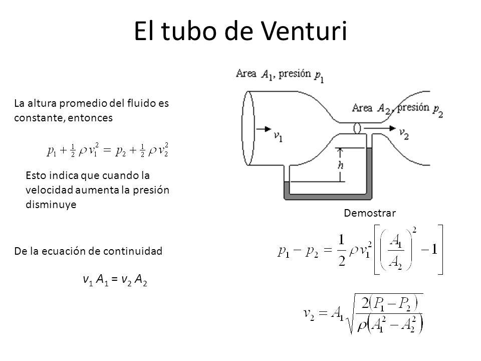 El tubo de Venturi La altura promedio del fluido es constante, entonces De la ecuación de continuidad v 1 A 1 = v 2 A 2 Demostrar Esto indica que cuan
