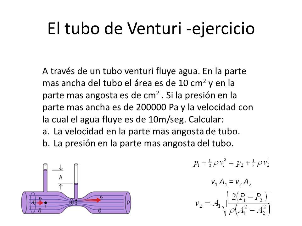 El tubo de Venturi -ejercicio A través de un tubo venturi fluye agua. En la parte mas ancha del tubo el área es de 10 cm 2 y en la parte mas angosta e
