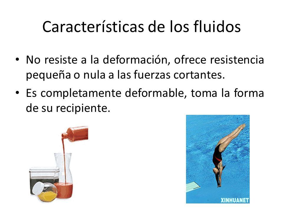 Características de los fluidos No resiste a la deformación, ofrece resistencia pequeña o nula a las fuerzas cortantes. Es completamente deformable, to