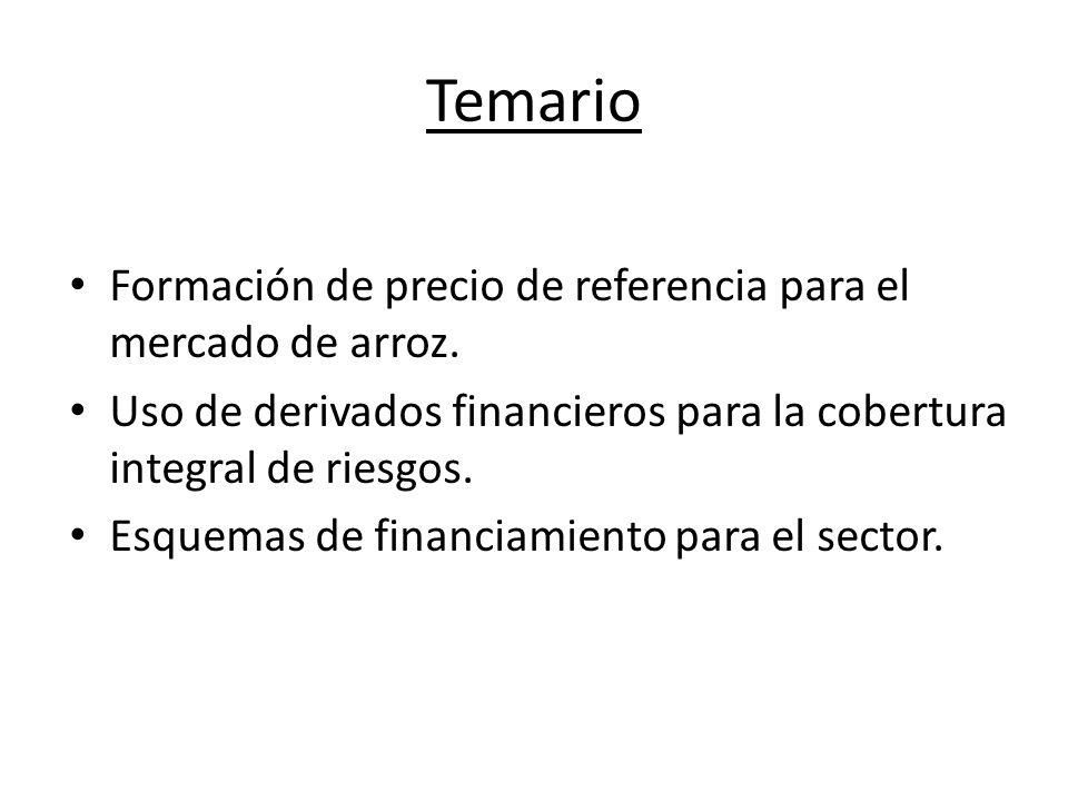 Precio de referencia para el arroz Ventajas: Consolidación como commodity doméstica.