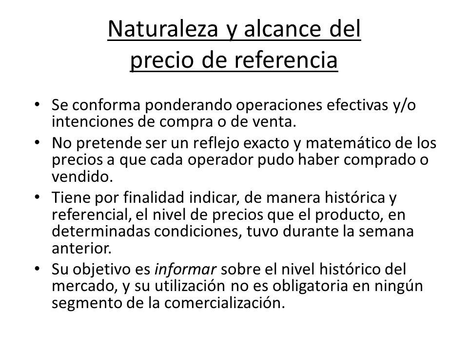 Naturaleza y alcance del precio de referencia Se conforma ponderando operaciones efectivas y/o intenciones de compra o de venta.