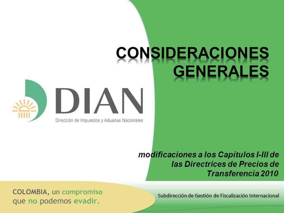 Subdirección de Gestión de Fiscalización Internacional modificaciones a los Capítulos I-III de las Directrices de Precios de Transferencia 2010.
