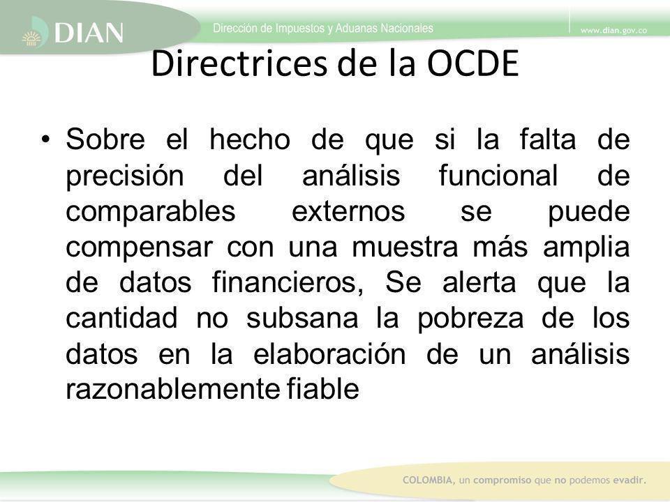 Directrices de la OCDE Sobre el hecho de que si la falta de precisión del análisis funcional de comparables externos se puede compensar con una muestr