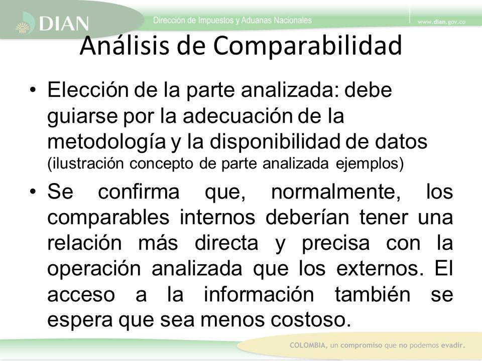 Análisis de Comparabilidad Elección de la parte analizada: debe guiarse por la adecuación de la metodología y la disponibilidad de datos (ilustración