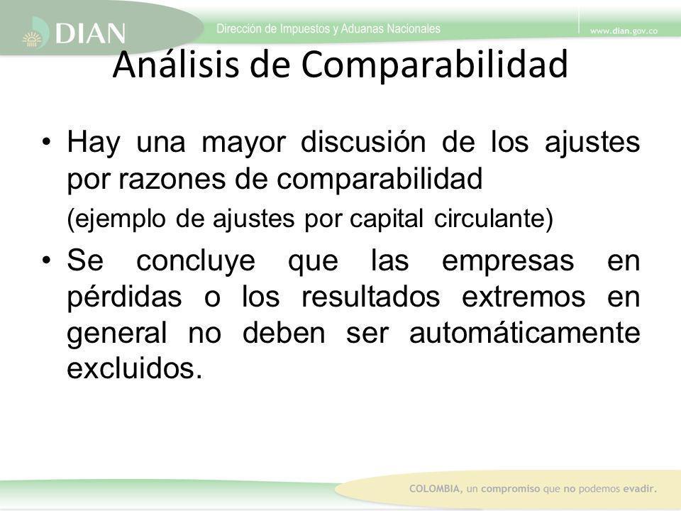 Análisis de Comparabilidad Hay una mayor discusión de los ajustes por razones de comparabilidad (ejemplo de ajustes por capital circulante) Se concluy