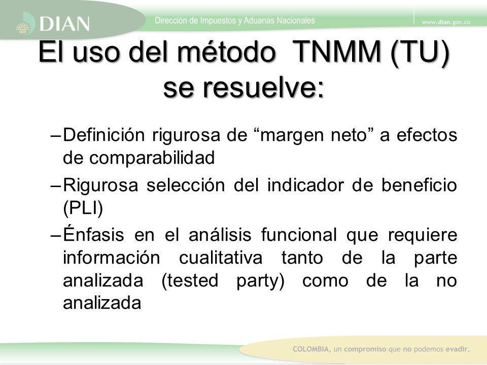 El uso del método TNMM (TU) se resuelve: –Definición rigurosa de margen neto a efectos de comparabilidad –Rigurosa selección del indicador de benefici