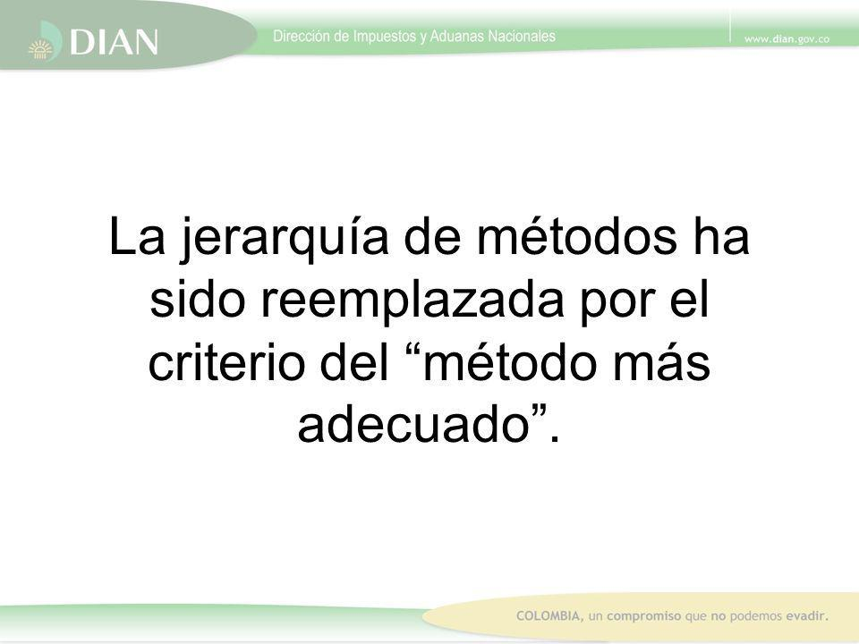 La jerarquía de métodos ha sido reemplazada por el criterio del método más adecuado.