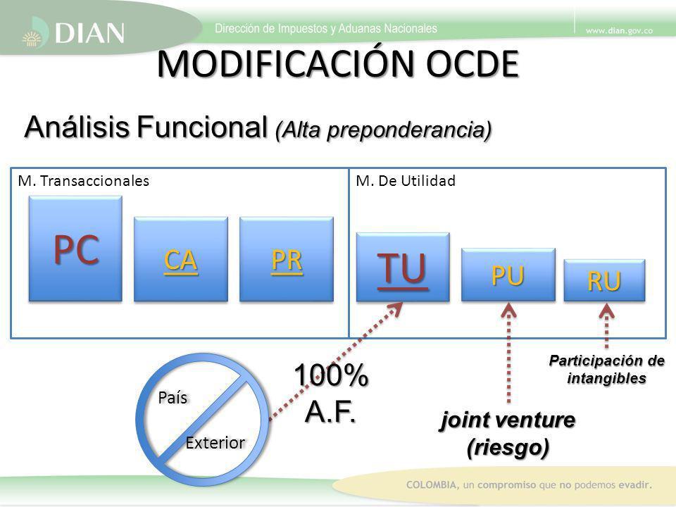 M. TransaccionalesM. De Utilidad MODIFICACIÓN OCDE Análisis Funcional (Alta preponderancia) PCPC RURU CA PR TU PUPU País Exterior País Exterior 100%A.