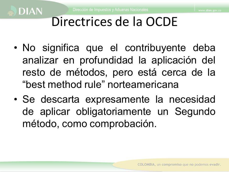 Directrices de la OCDE No significa que el contribuyente deba analizar en profundidad la aplicación del resto de métodos, pero está cerca de la best m