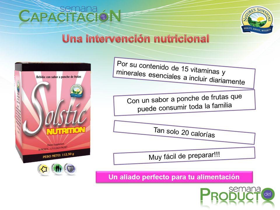 Un aliado perfecto para tu alimentación Por su contenido de 15 vitaminas y minerales esenciales a incluir diariamente Con un sabor a ponche de frutas