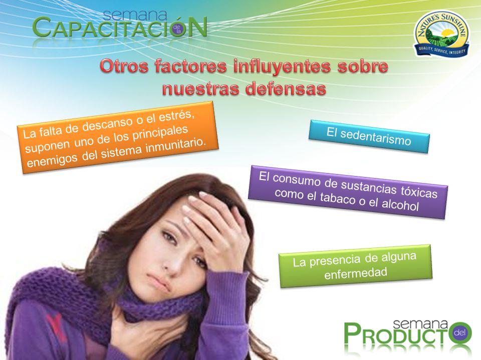 La falta de descanso o el estrés, suponen uno de los principales enemigos del sistema inmunitario. El sedentarismo El consumo de sustancias tóxicas co