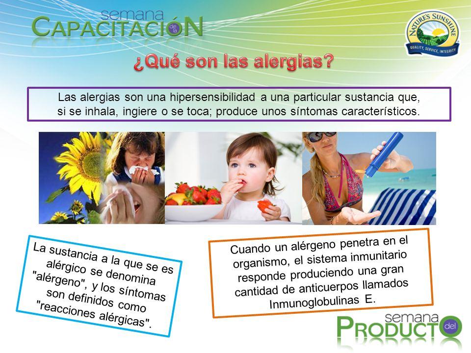 Las alergias son una hipersensibilidad a una particular sustancia que, si se inhala, ingiere o se toca; produce unos síntomas característicos. La sust