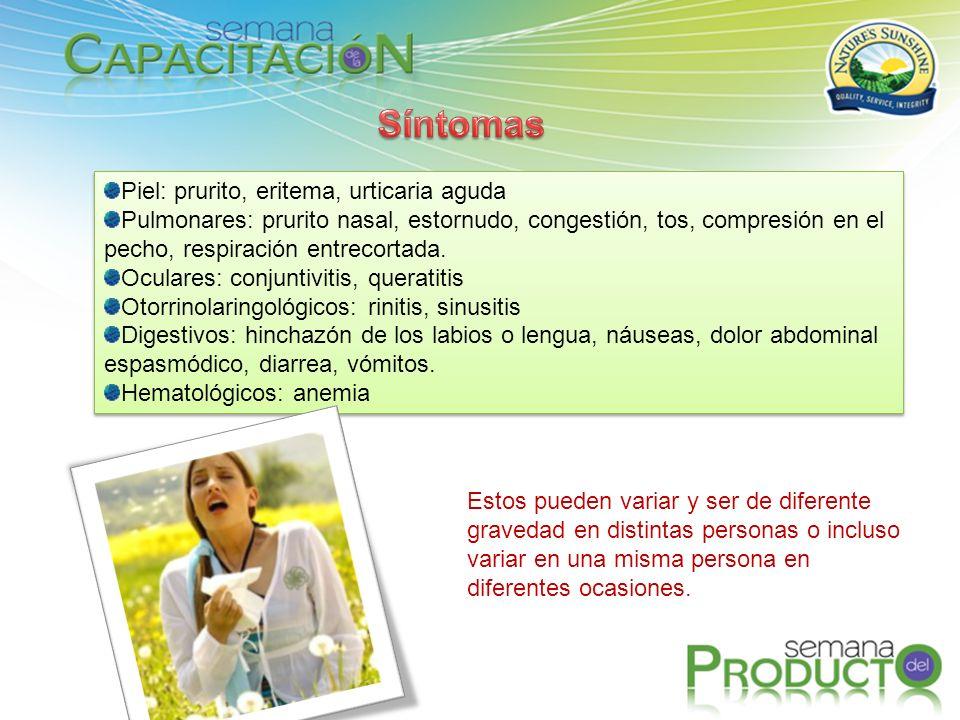 Piel: prurito, eritema, urticaria aguda Pulmonares: prurito nasal, estornudo, congestión, tos, compresión en el pecho, respiración entrecortada. Ocula