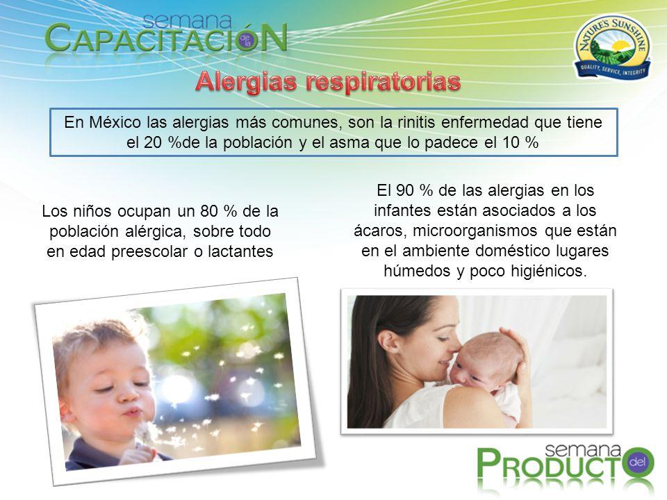 En México las alergias más comunes, son la rinitis enfermedad que tiene el 20 %de la población y el asma que lo padece el 10 % Los niños ocupan un 80