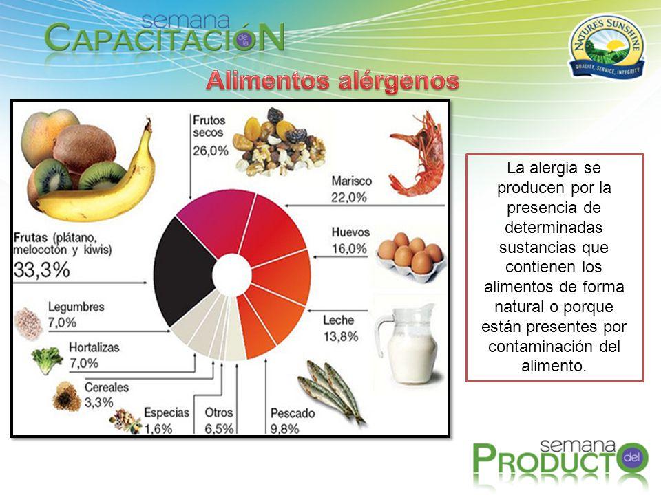 La alergia se producen por la presencia de determinadas sustancias que contienen los alimentos de forma natural o porque están presentes por contamina