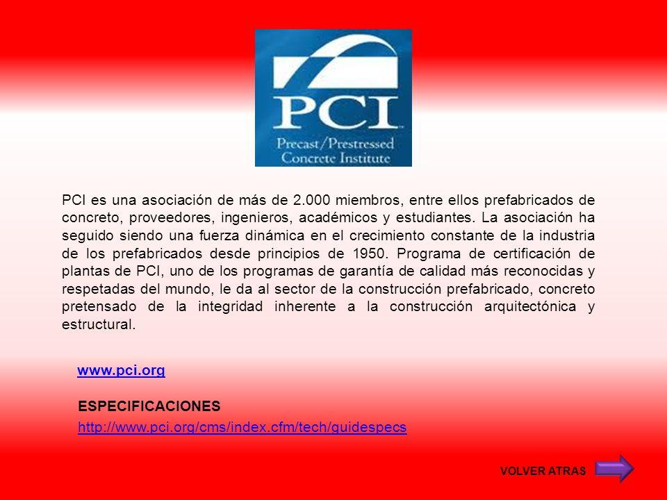 www.pci.org PCI es una asociación de más de 2.000 miembros, entre ellos prefabricados de concreto, proveedores, ingenieros, académicos y estudiantes.