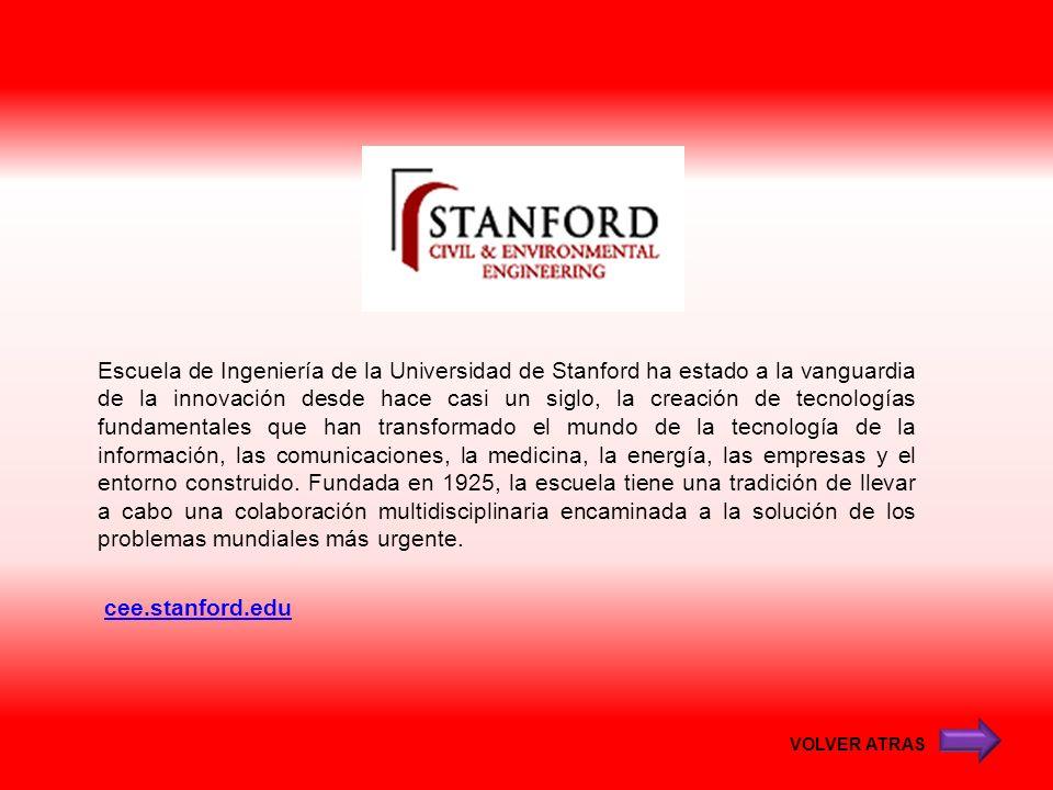 cee.stanford.edu Escuela de Ingeniería de la Universidad de Stanford ha estado a la vanguardia de la innovación desde hace casi un siglo, la creación