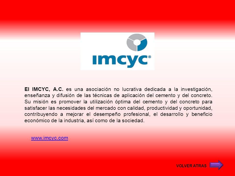 www.imcyc.com VOLVER ATRAS El IMCYC, A.C. es una asociación no lucrativa dedicada a la investigación, enseñanza y difusión de las técnicas de aplicaci