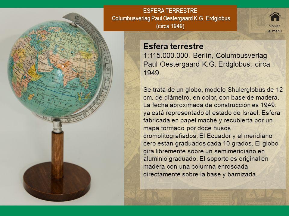 ESFERA TERRESTRE Columbusverlag Paul Oestergaard K.G. Erdglobus (circa 1949) Columbusverlag Paul Oestergaard K.G. Erdglobus (circa 1949) Esfera terres
