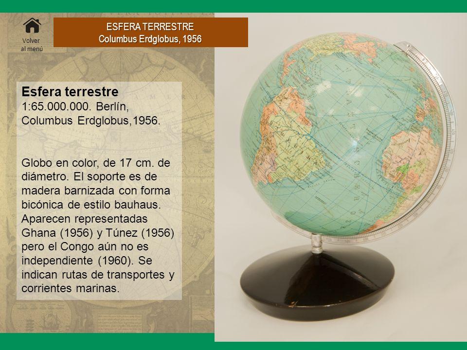 Esfera terrestre 1:65.000.000. Berlín, Columbus Erdglobus,1956. Globo en color, de 17 cm. de diámetro. El soporte es de madera barnizada con forma bic