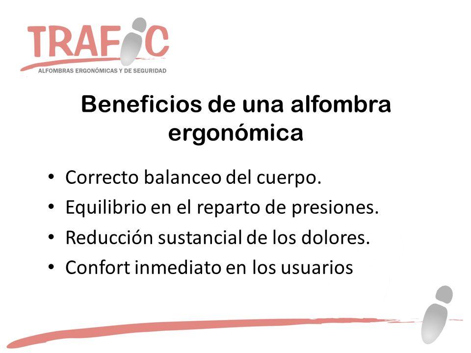 Beneficios de una alfombra ergonómica Correcto balanceo del cuerpo.
