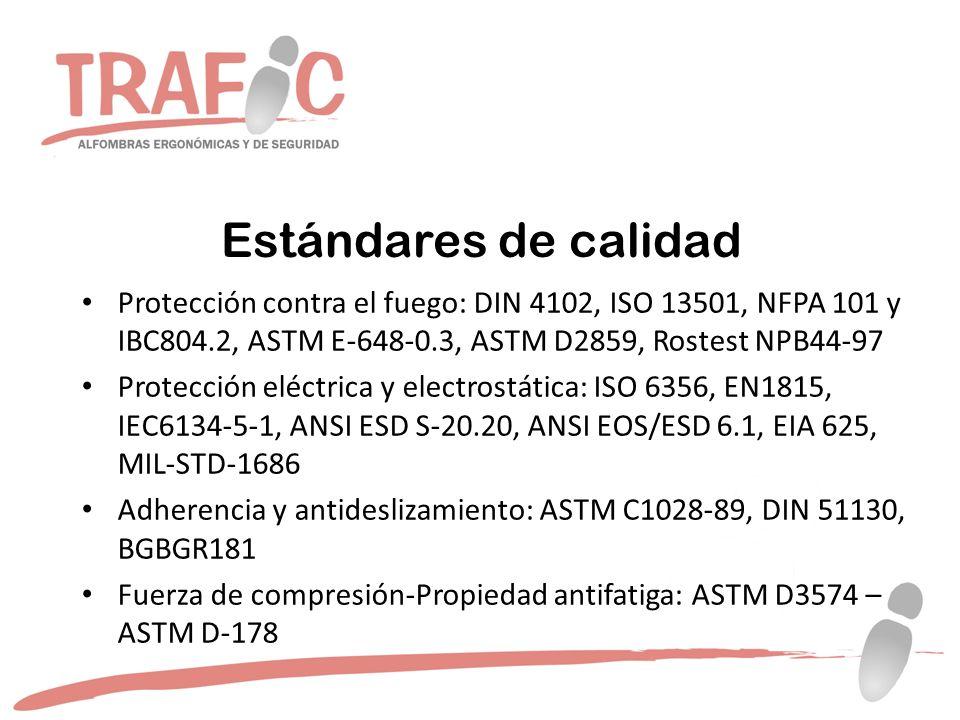Protección contra el fuego: DIN 4102, ISO 13501, NFPA 101 y IBC804.2, ASTM E-648-0.3, ASTM D2859, Rostest NPB44-97 Protección eléctrica y electrostática: ISO 6356, EN1815, IEC6134-5-1, ANSI ESD S-20.20, ANSI EOS/ESD 6.1, EIA 625, MIL-STD-1686 Adherencia y antideslizamiento: ASTM C1028-89, DIN 51130, BGBGR181 Fuerza de compresión-Propiedad antifatiga: ASTM D3574 – ASTM D-178
