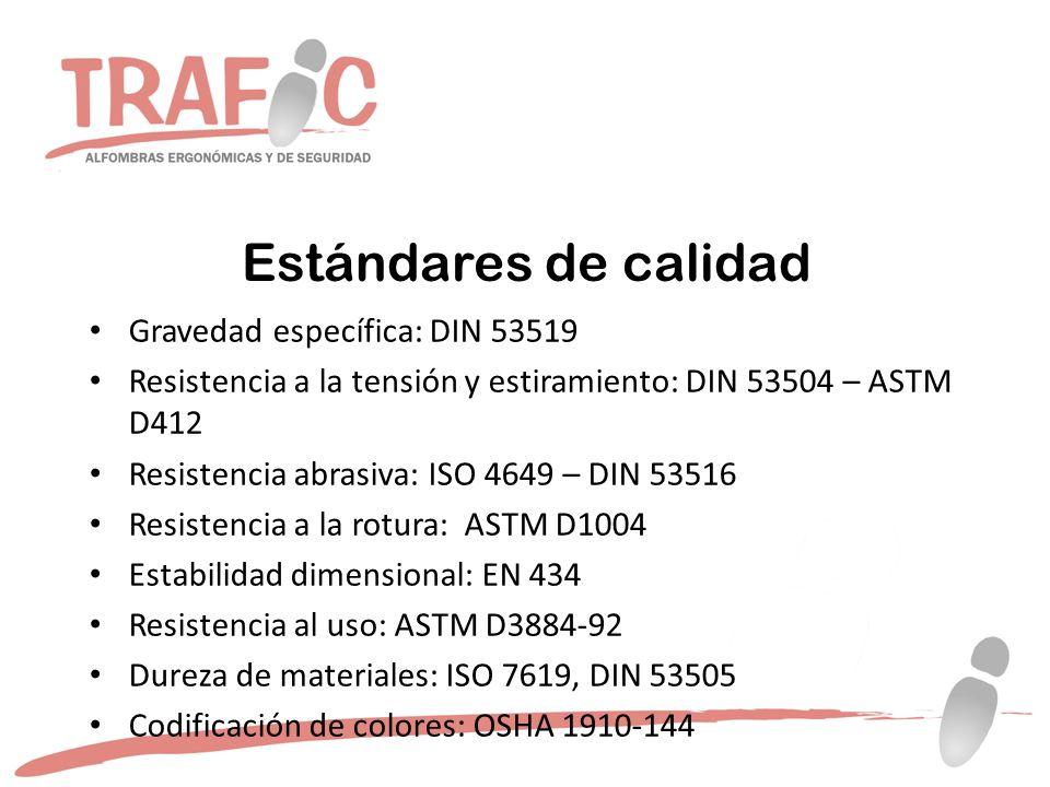Estándares de calidad Gravedad específica: DIN 53519 Resistencia a la tensión y estiramiento: DIN 53504 – ASTM D412 Resistencia abrasiva: ISO 4649 – DIN 53516 Resistencia a la rotura: ASTM D1004 Estabilidad dimensional: EN 434 Resistencia al uso: ASTM D3884-92 Dureza de materiales: ISO 7619, DIN 53505 Codificación de colores: OSHA 1910-144