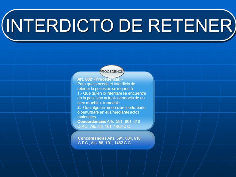 INTERDICTO DE RETENER PROCEDENCIA Art. 602º (Procedencia).- Para que proceda el interdicto de retener la posesión se requerirá: 1.- Que quien lo inten